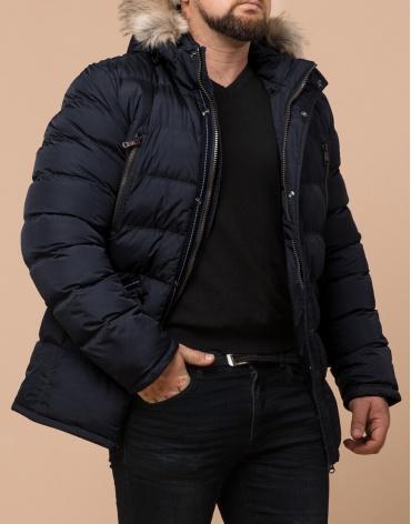 Темно-синяя мужская куртка большого размера модель 23752 фото 1