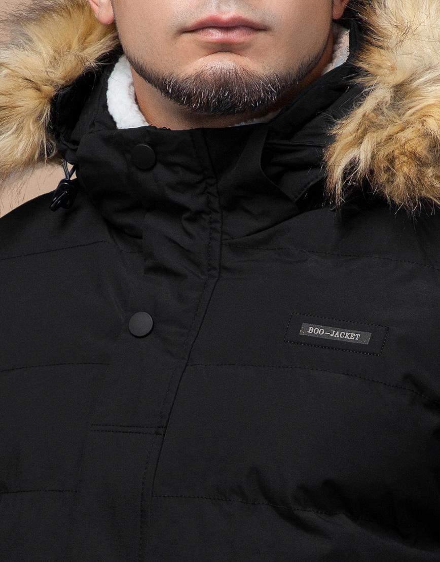 Черная зимняя куртка мужская качественного пошива модель 25780 фото 5