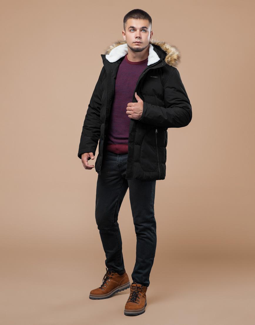 Черная зимняя куртка мужская качественного пошива модель 25780 фото 2