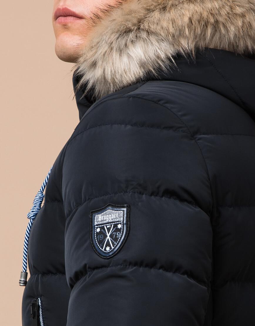 Куртка зимняя черно-синяя с манжетами модель 20128