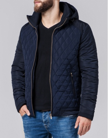 Куртка современная мужская темно-синяя модель 2686