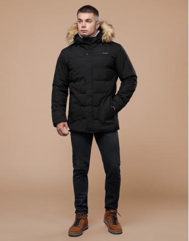 Черная зимняя куртка мужская качественного пошива модель 25780 фото 1