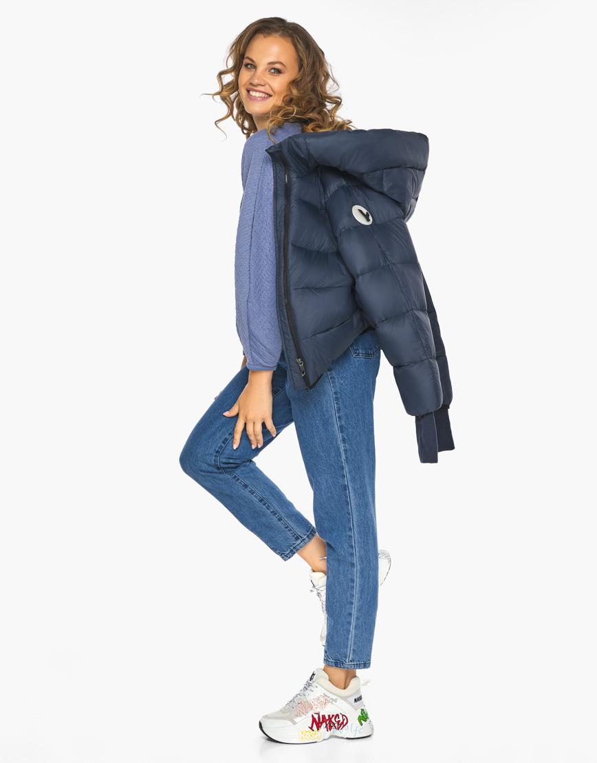 Пуховик куртка Youth женская темно-синяя модель 26420 фото 3