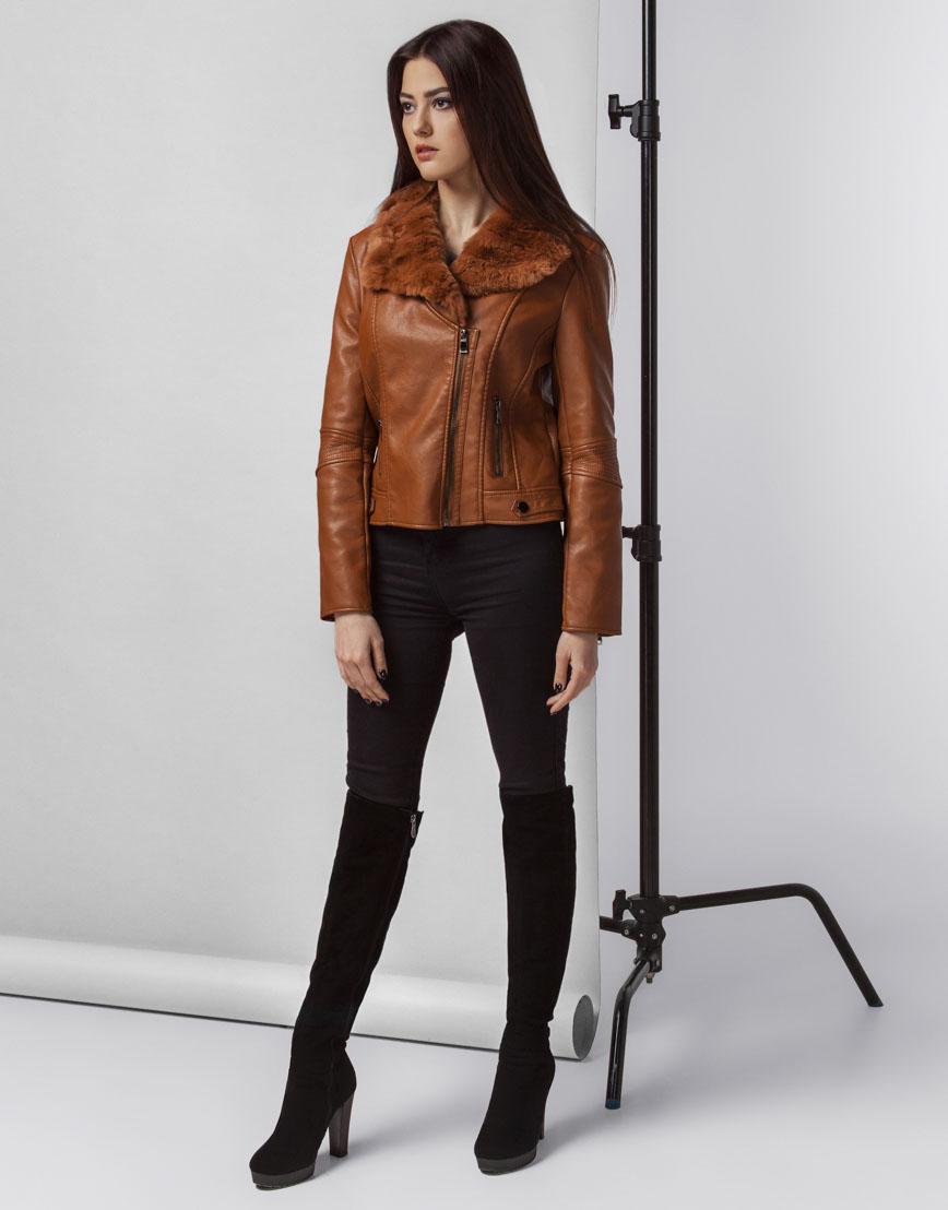 Коричневая осенне-весенняя женская куртка модель 25522 фото 3