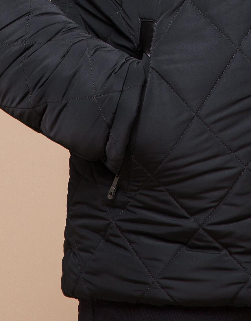 Современная зимняя куртка цвет графит модель 19121 фото 5
