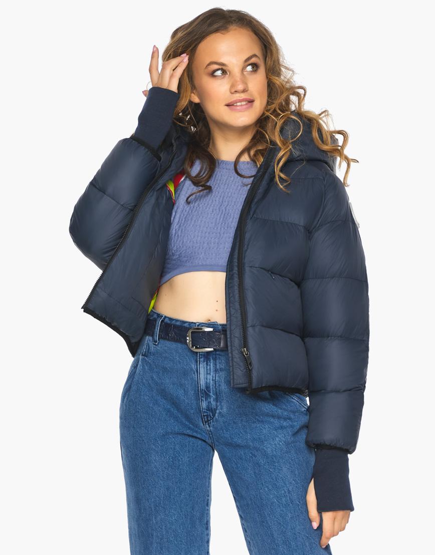 Пуховик куртка Youth женская темно-синяя модель 26420 фото 2