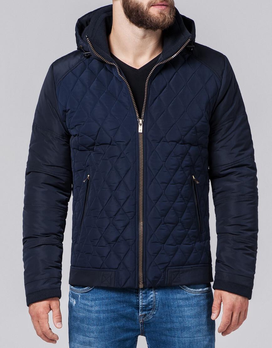 Куртка современная мужская темно-синяя модель 2686 фото 2