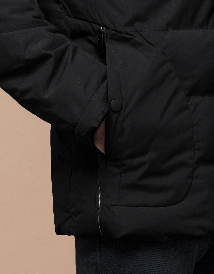 Черная зимняя куртка мужская качественного пошива модель 25780 фото 6