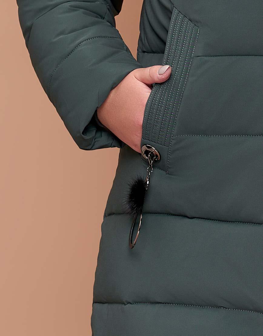 Качественная серо-зеленая куртка женская модного пошива модель 25095