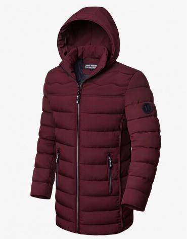 Куртка зимняя качественная бордовая модель 8803