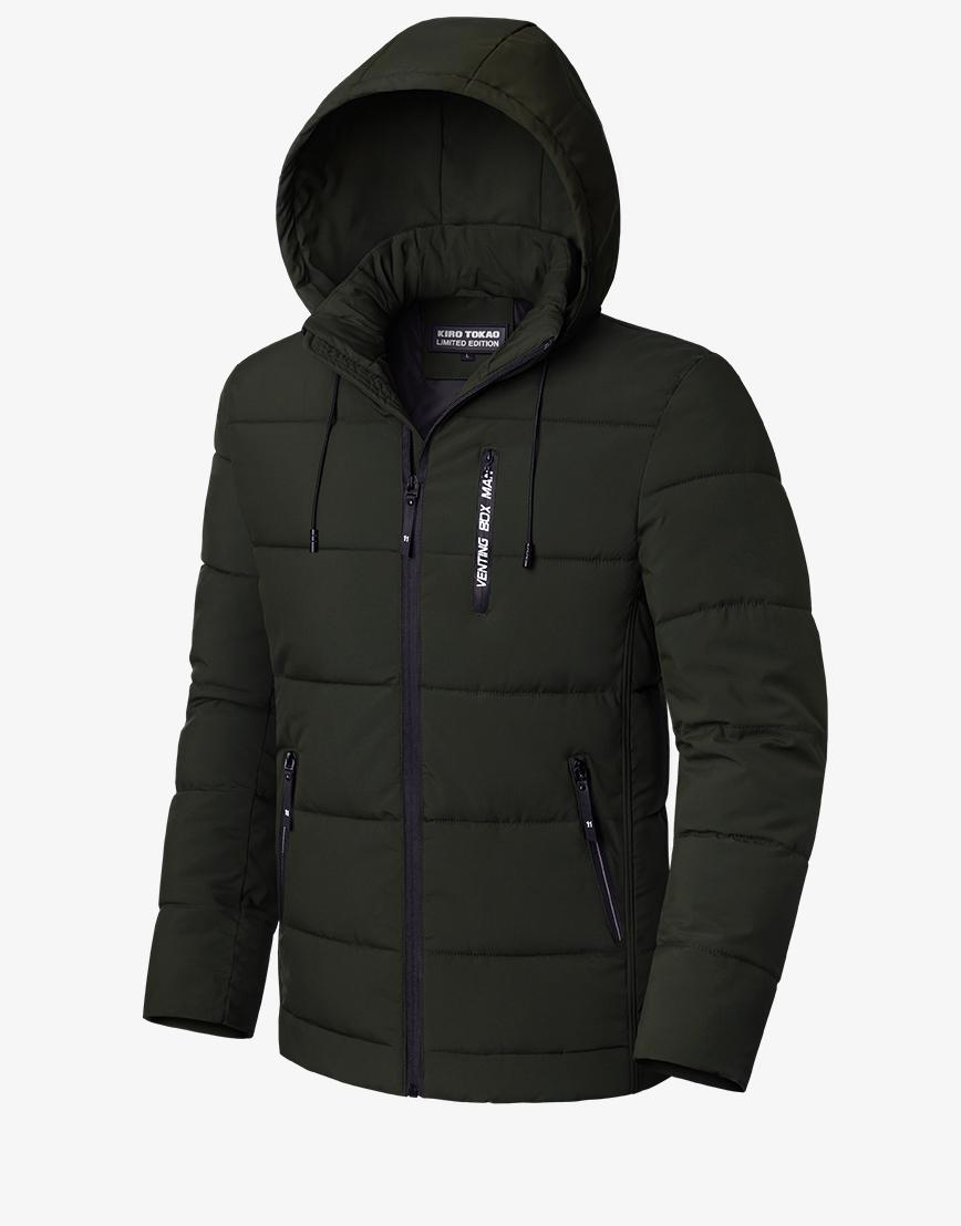 Современная зимняя темно-зеленая куртка модель 8808