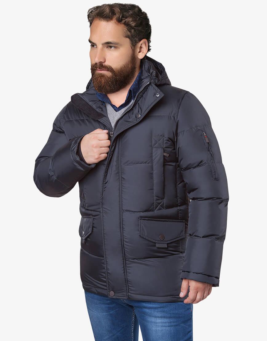 Графитовая куртка мужская большого размера на зиму модель 3284 оптом фото 2