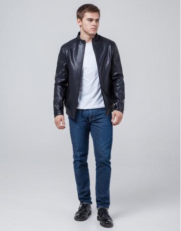 Куртка темно-синяя мужская легкая осенне-весенняя модель 1588 фото 1
