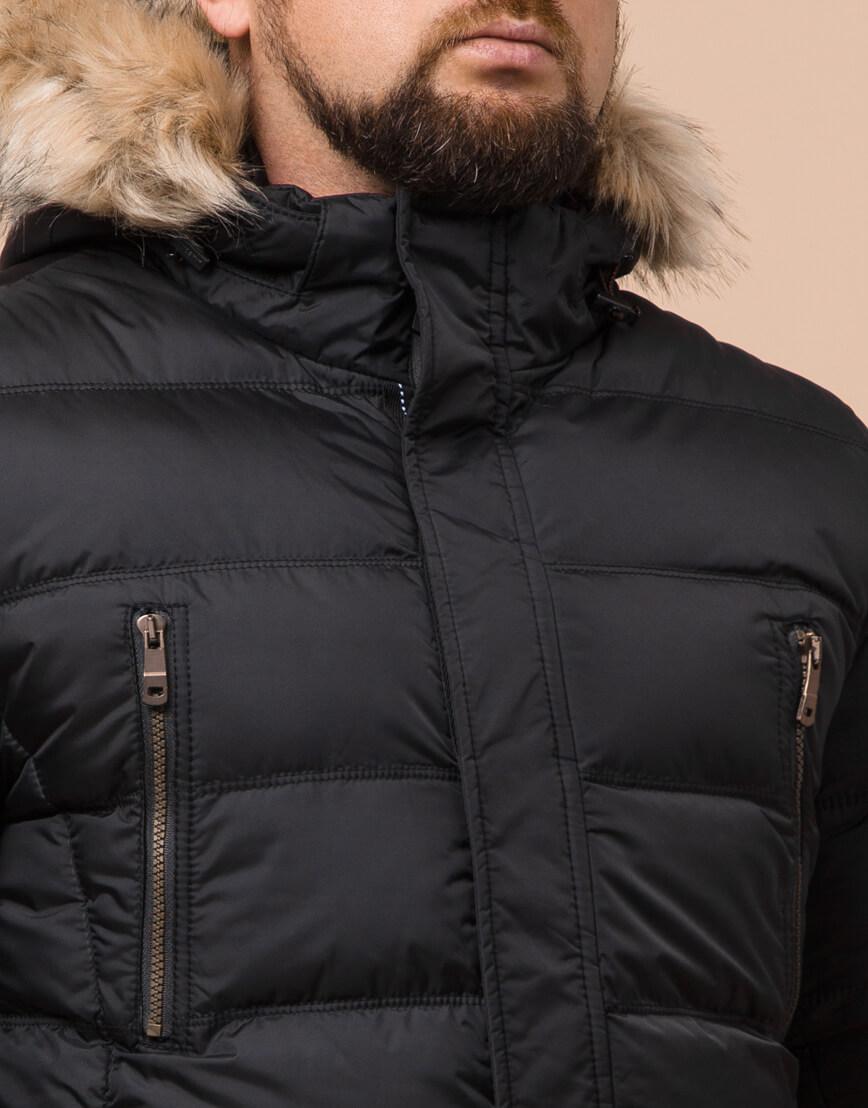 Качественная черная куртка большого размера модель 23752 фото 4
