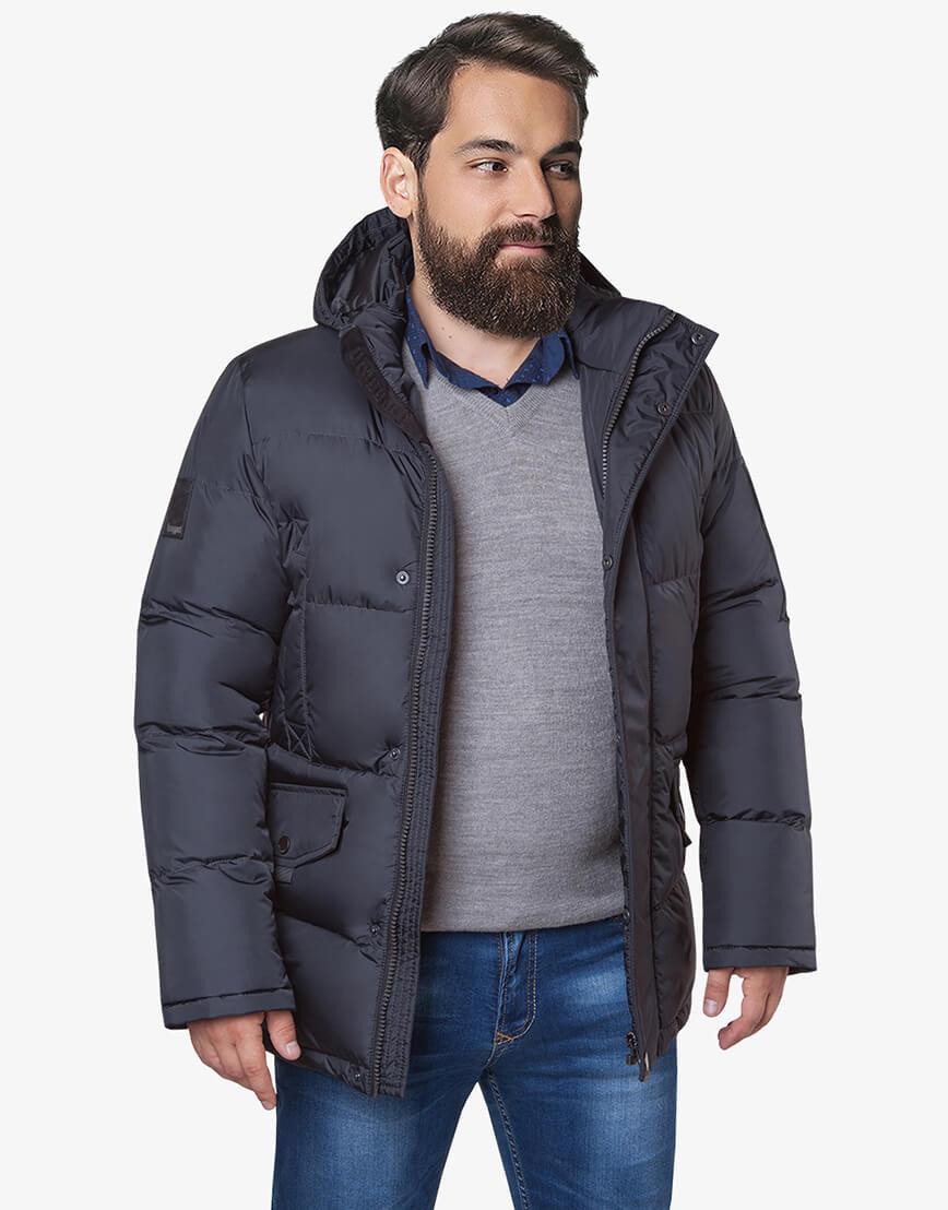 Графитовая куртка мужская большого размера на зиму модель 3284 оптом фото 1