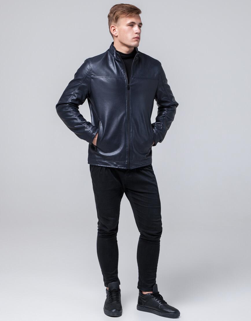 Фирменная темно-синяя куртка молодежная модель 2825 фото 2