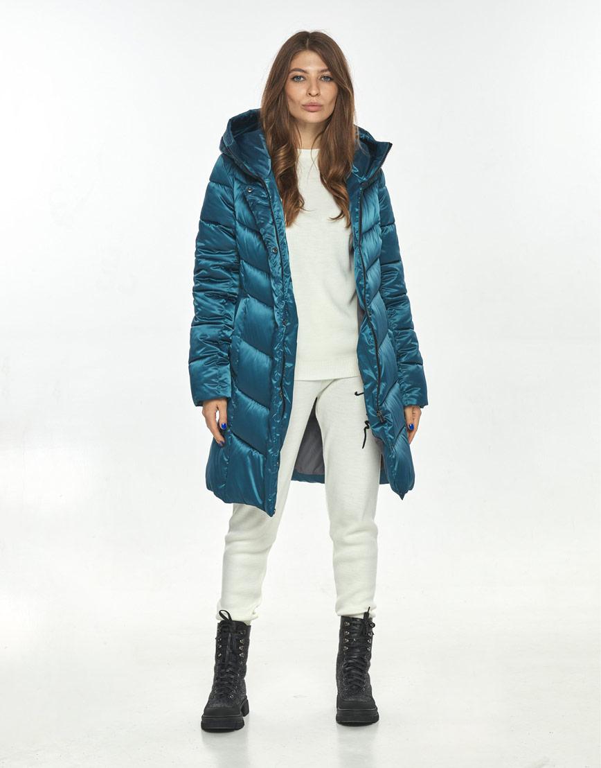 Стильная куртка женская Ajento аквамариновая зимняя 22857 фото 2