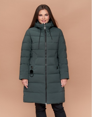 Качественная серо-зеленая куртка женская большого размера модель 25095