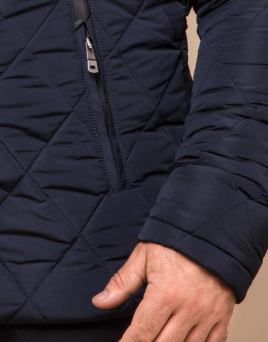 Синяя куртка качественного пошива модель 19121 фото 5