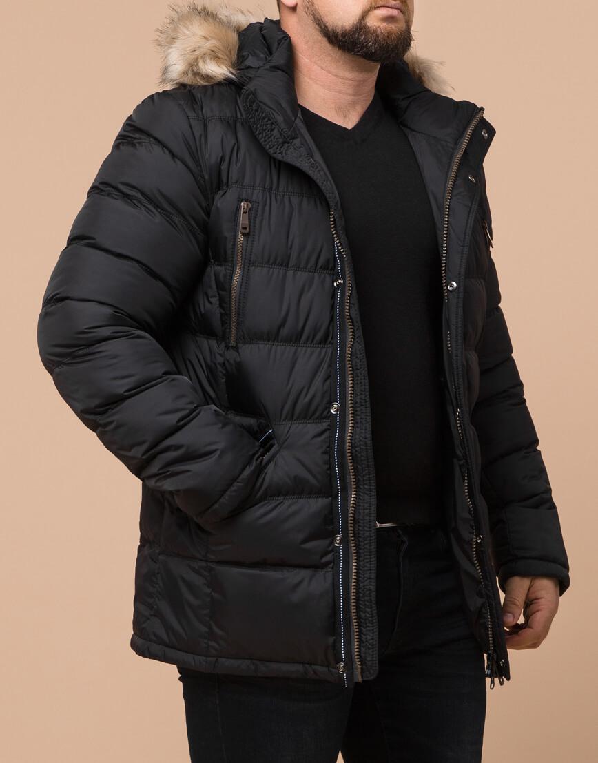 Качественная черная куртка большого размера модель 23752 фото 2