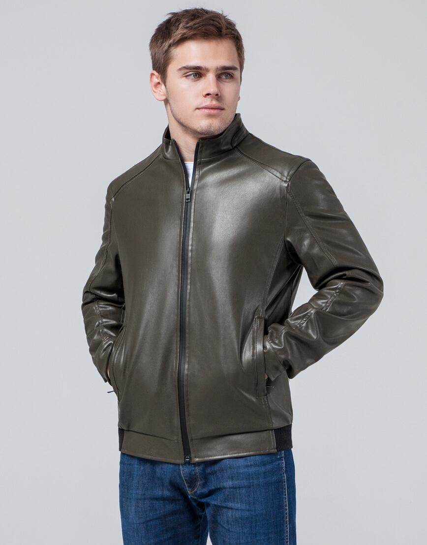 Мужская куртка осенне-весенняя цвета хаки модель 1588 фото 1