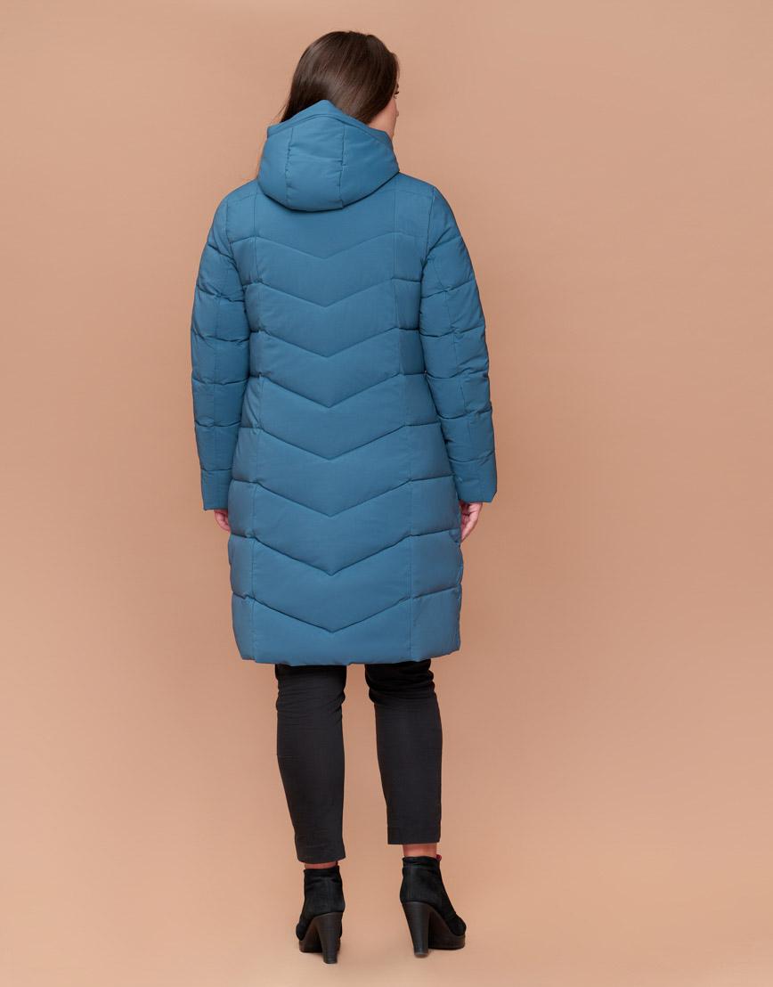 Стильная темно-голубая женская куртка большого размера модель 25095