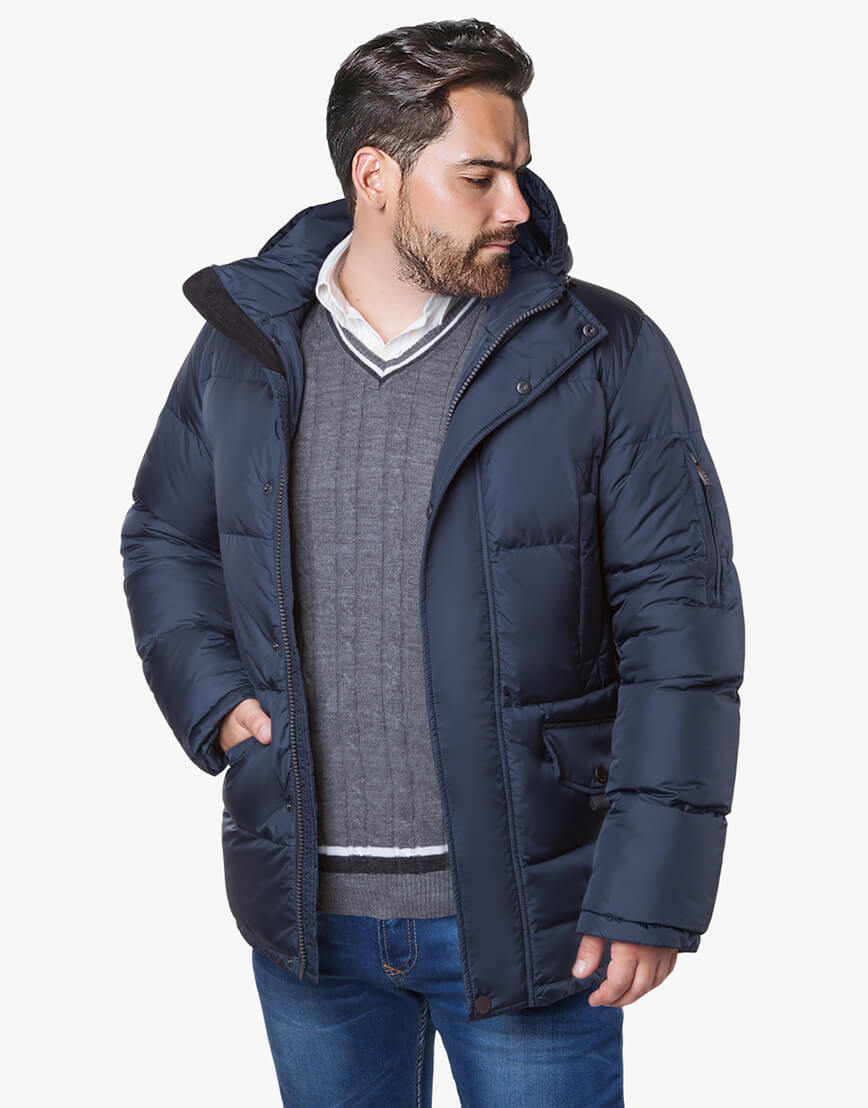 Темно-синяя куртка большого размера на зиму для мужчин модель 3284 оптом фото 2