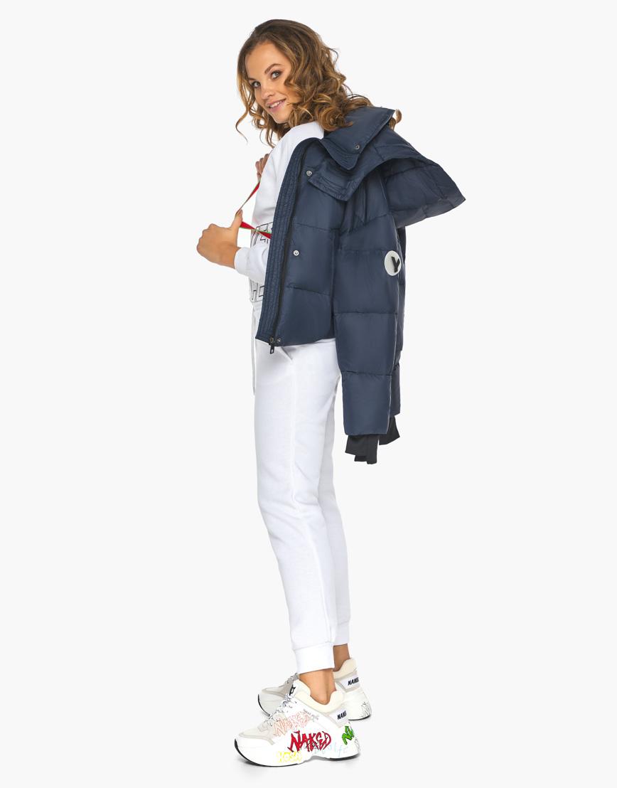 Пуховик куртка Youth темно-синяя женская качественного пошива модель 27450 фото 3