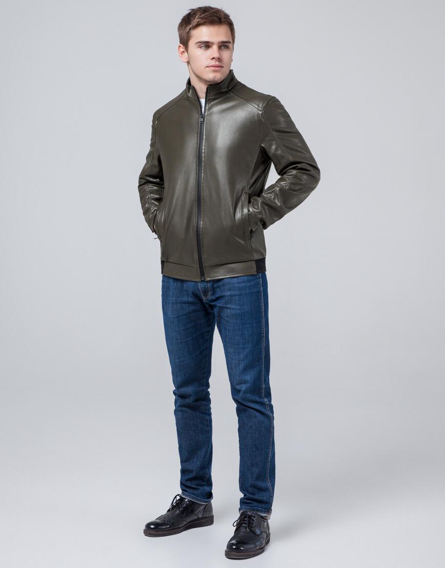 Мужская куртка осенне-весенняя цвета хаки модель 1588 фото 3