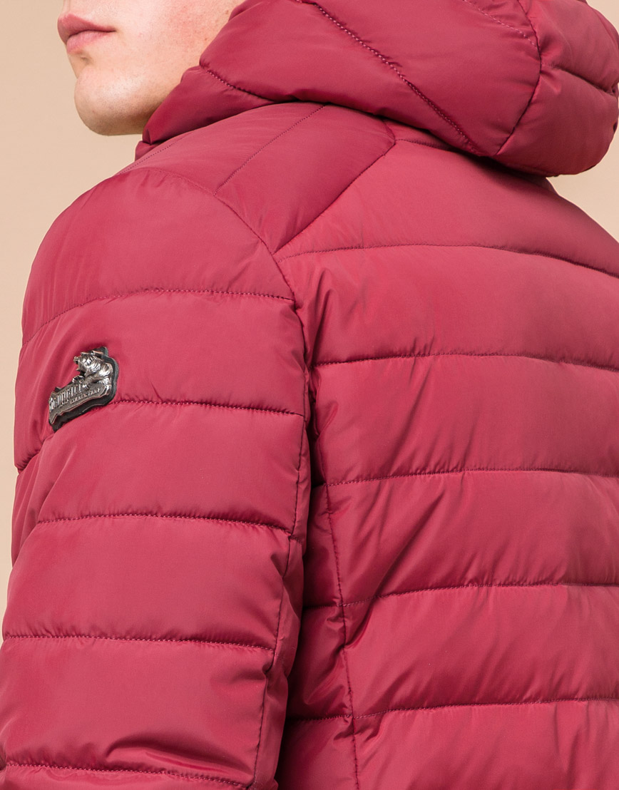 Стильная мужская куртка бордовая модель 40962 фото 6