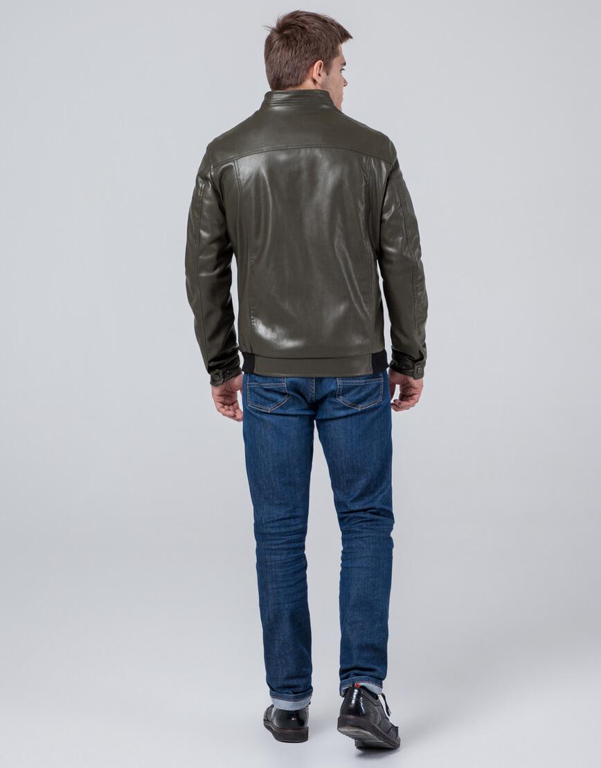 Мужская куртка осенне-весенняя цвета хаки модель 1588 фото 4