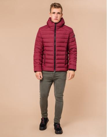 Стильная мужская куртка бордовая модель 40962
