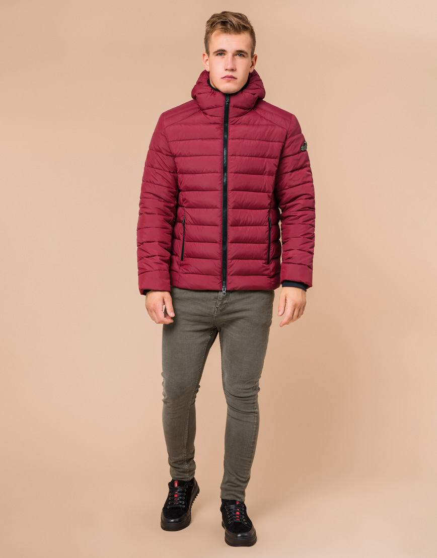 Стильная мужская куртка бордовая модель 40962 фото 1