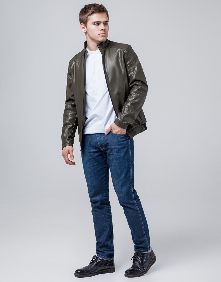 Мужская куртка осенне-весенняя цвета хаки модель 1588 фото 2