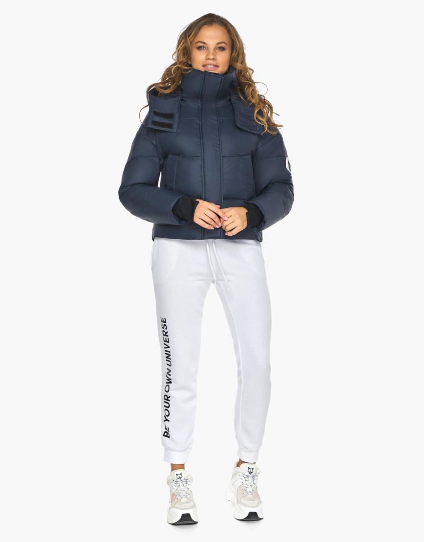Пуховик куртка Youth темно-синяя женская качественного пошива модель 27450 фото 2