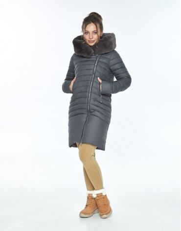 Куртка серая Ajento женская трендовая зимняя 24138 фото 1