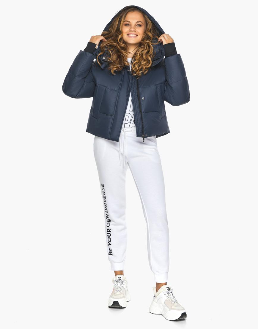 Пуховик куртка Youth темно-синяя женская качественного пошива модель 27450 фото 4
