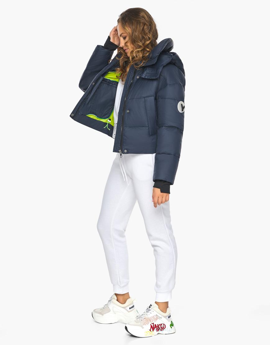 Пуховик куртка Youth темно-синяя женская качественного пошива модель 27450 фото 5