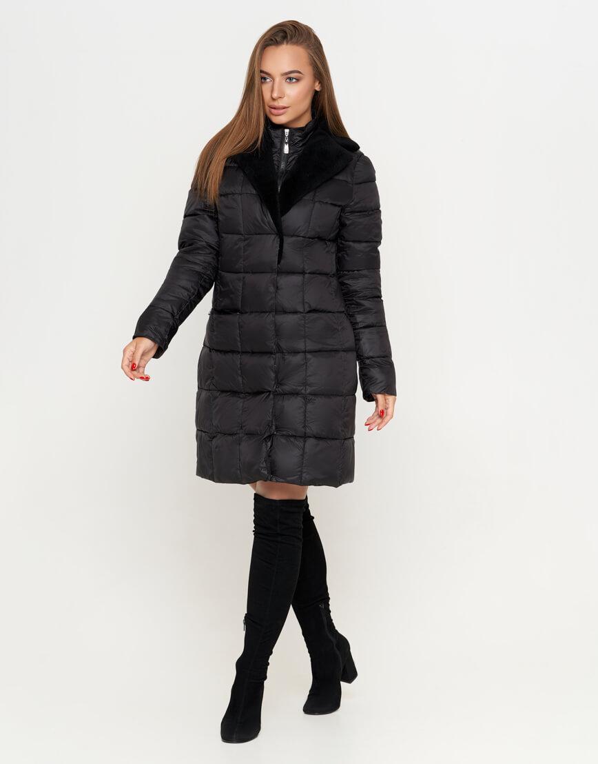 Модная черная куртка женская модель 7311
