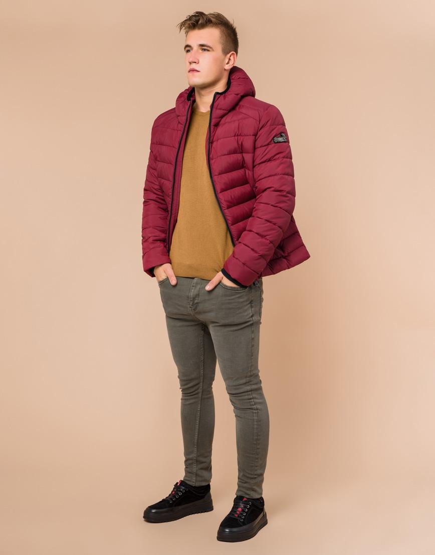 Стильная мужская куртка бордовая модель 40962 фото 2