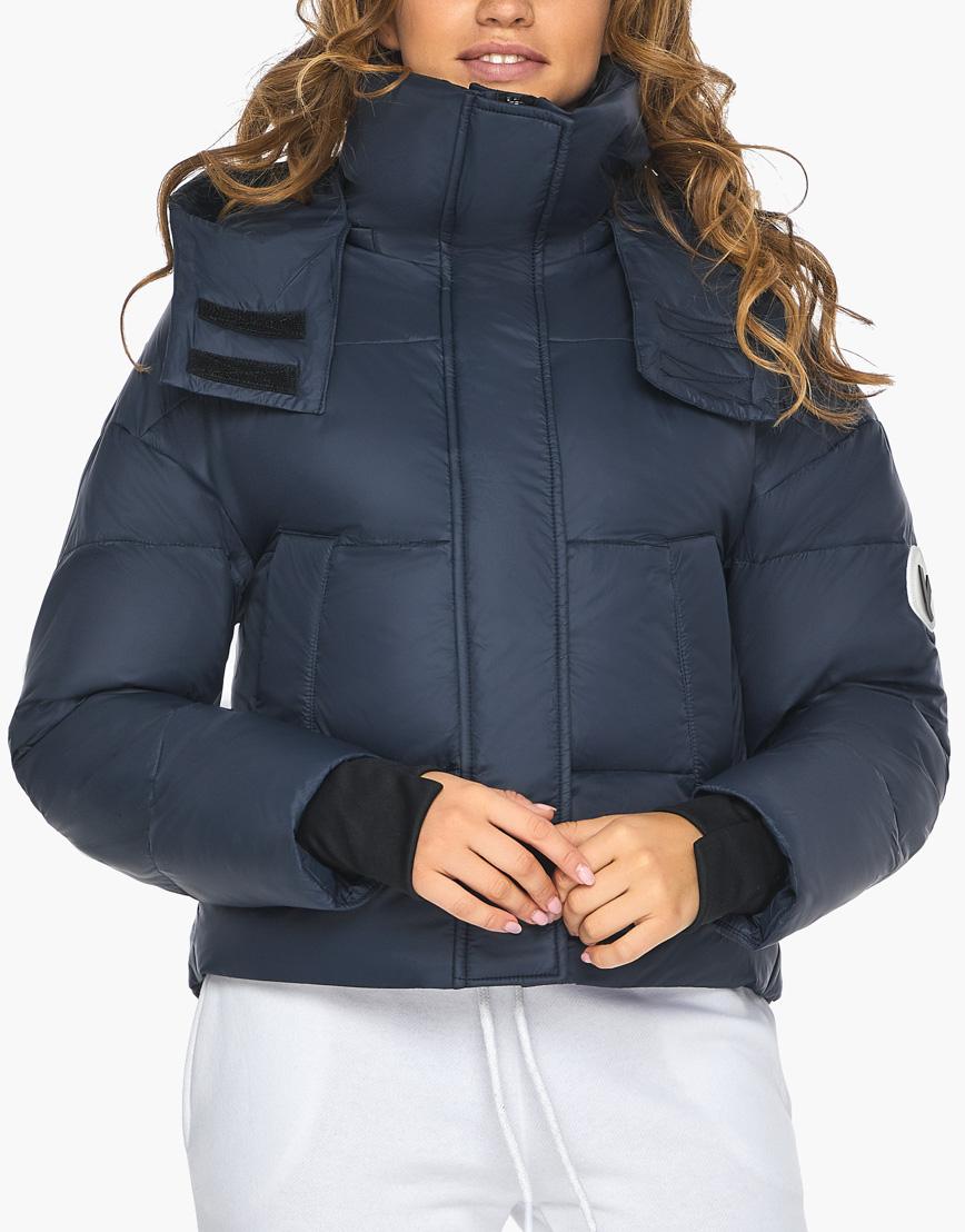 Пуховик куртка Youth темно-синяя женская качественного пошива модель 27450 фото 7