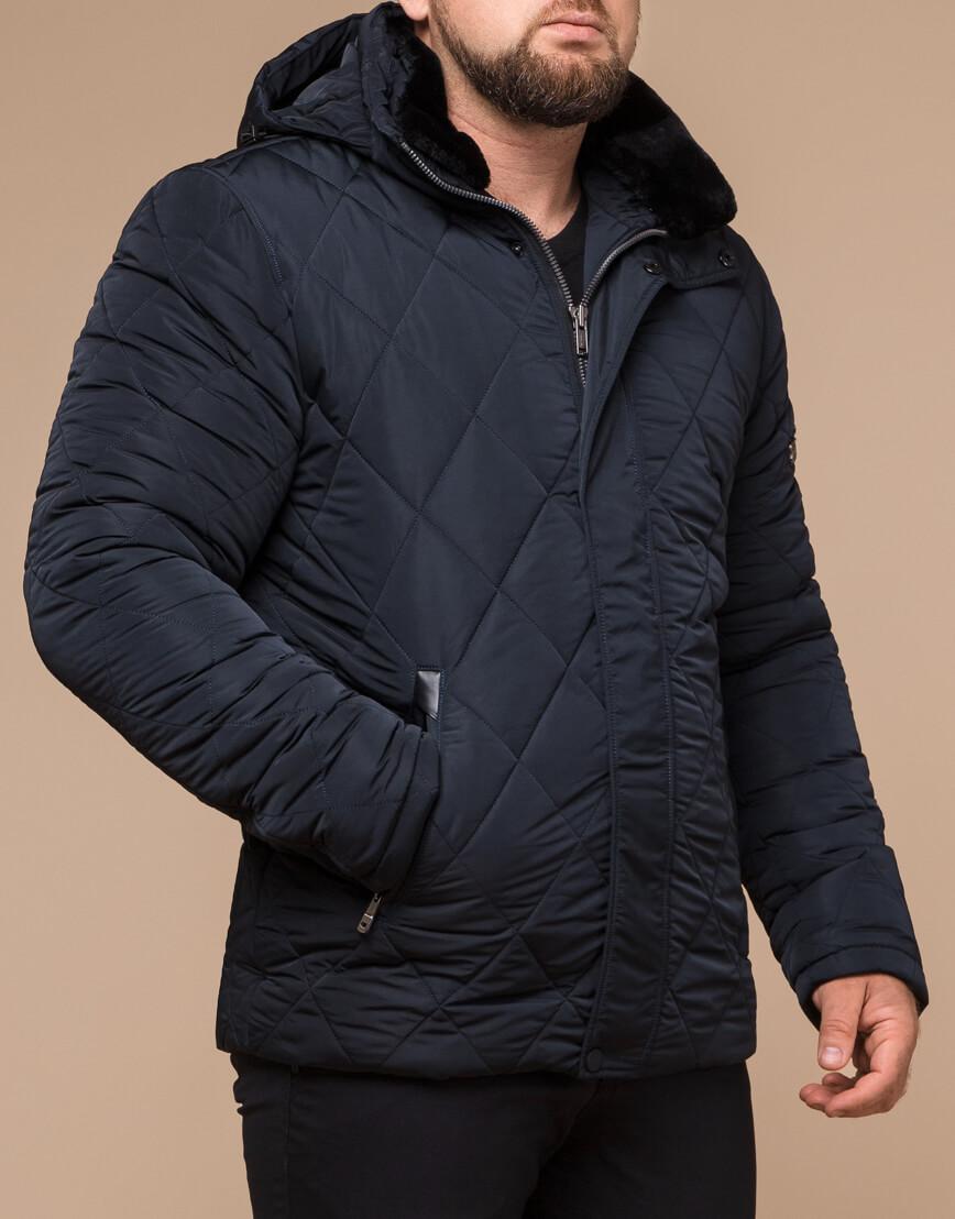 Темно-синяя зимняя куртка с капюшоном модель 19121 фото 1