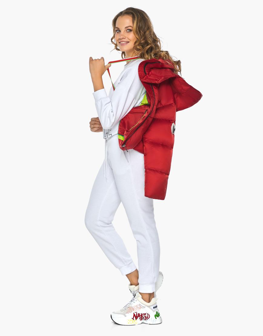 Куртка пуховик Youth женский трендовый рубиновый модель 27450 фото 3