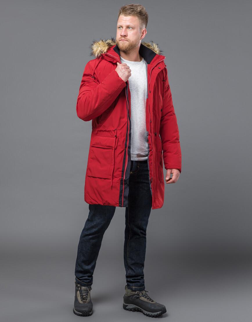 Красная парка на зиму модель 58406