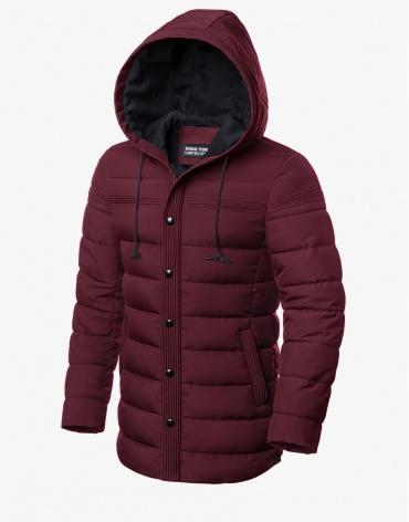 Практичная куртка зимняя бордовая модель 8806 фото 1