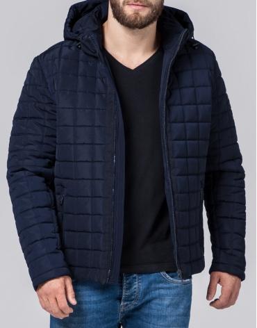 Темно-синяя куртка модного фасона модель 2475 фото 1