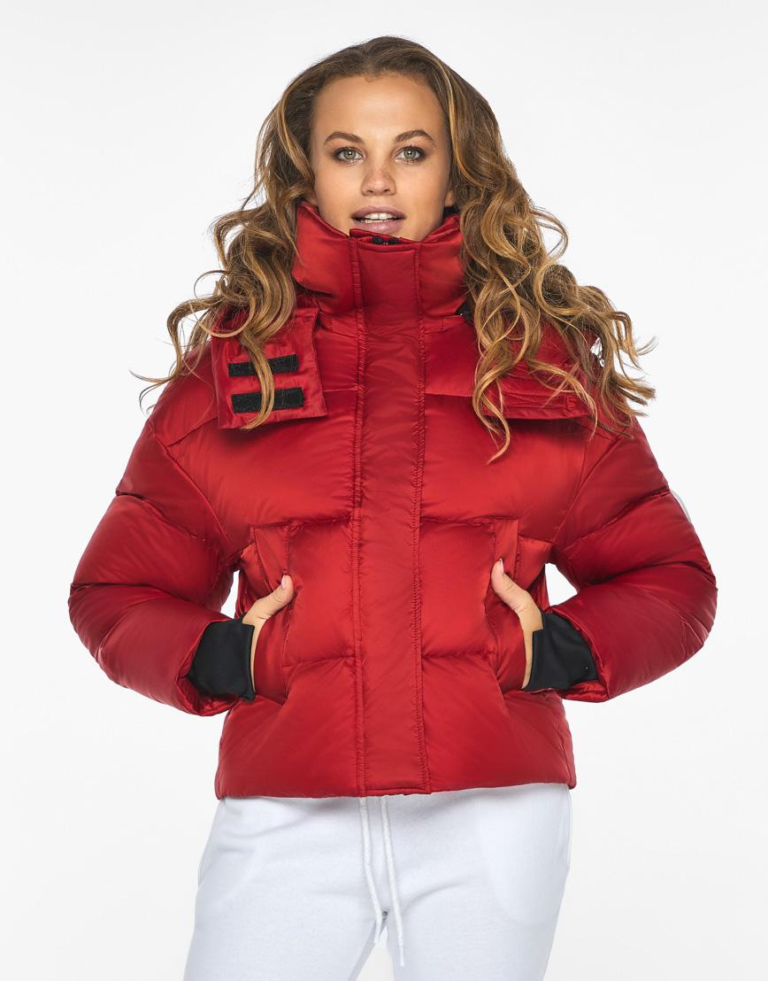 Куртка пуховик Youth женский трендовый рубиновый модель 27450 фото 2