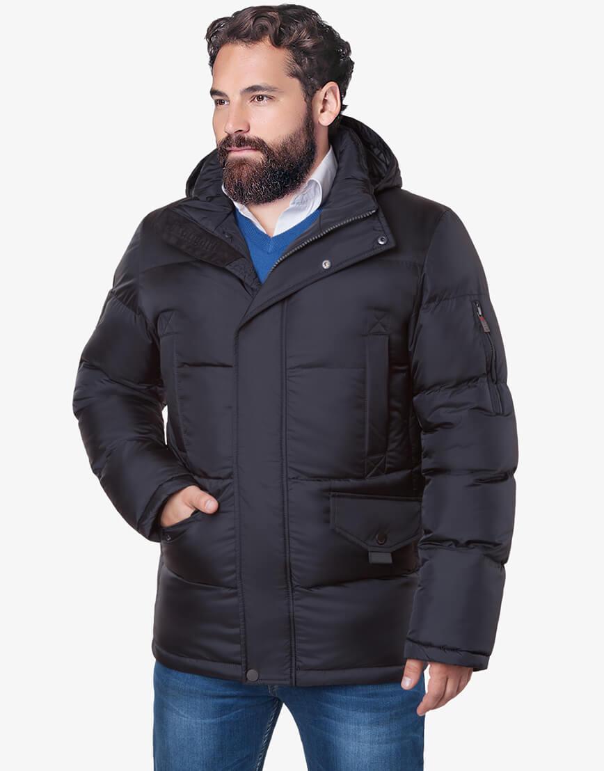 Мужская черная зимняя куртка большого размера модель 3284 оптом фото 2