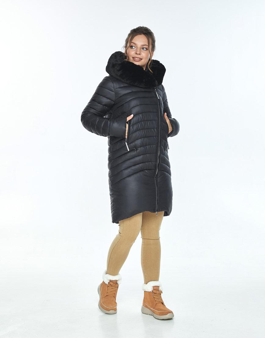 Комфортная куртка чёрная женская Ajento зимняя 24138 фото 2