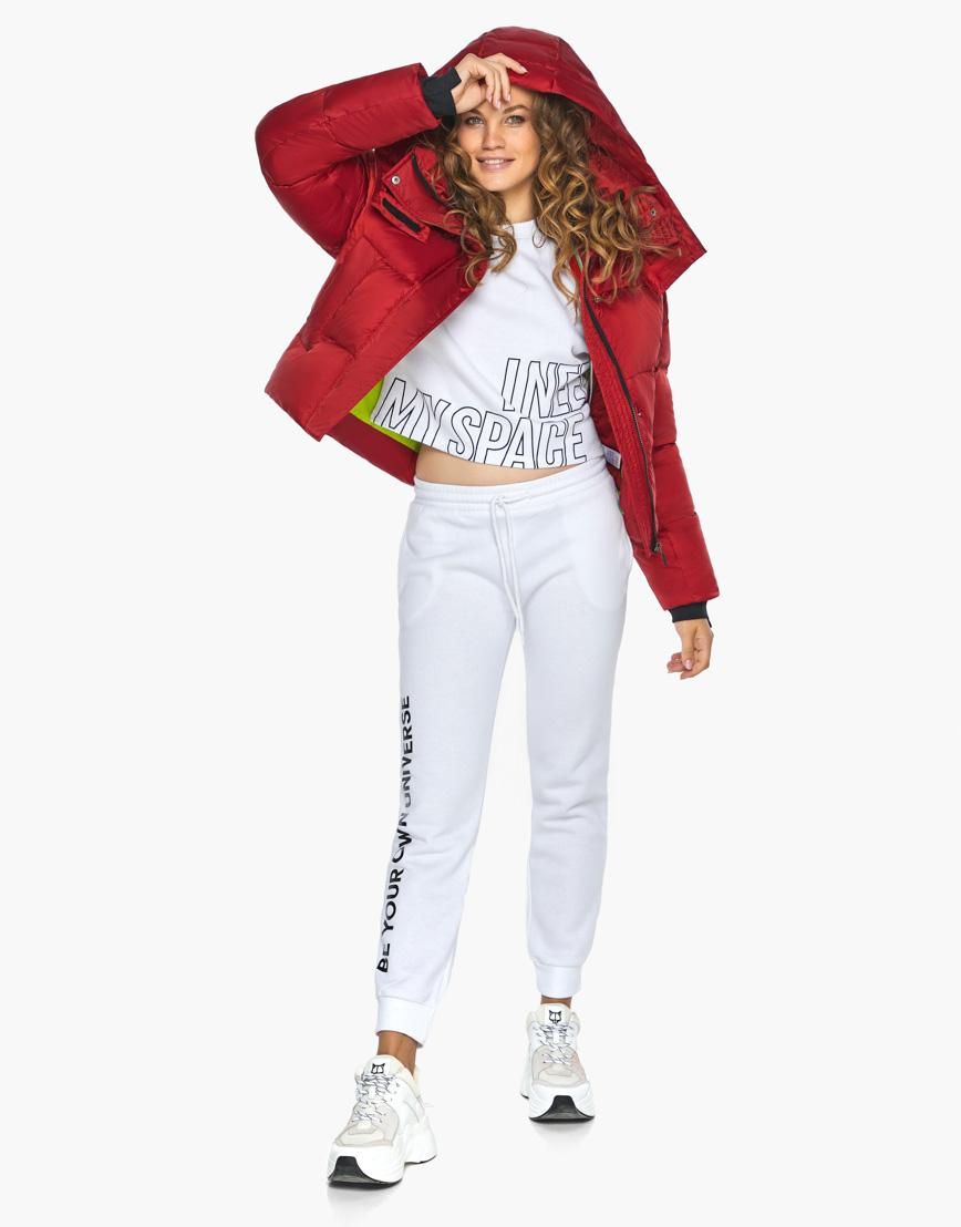 Куртка пуховик Youth женский трендовый рубиновый модель 27450 фото 6